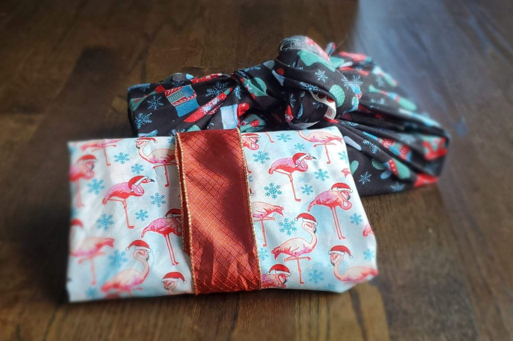 Fun wrapping paper alternatives when using fabric
