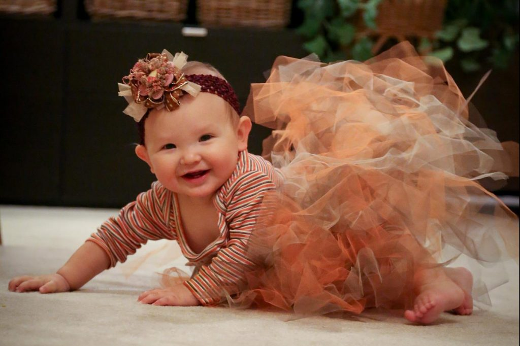 Picture of baby girl in grand thanksgiving outfit