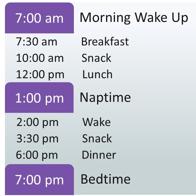 A 3 year old sleeping schedule with a 1 hour nap