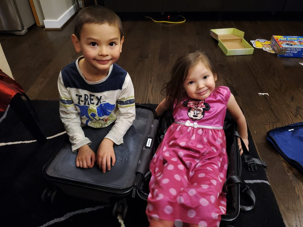 Two kids playing in a suitcase